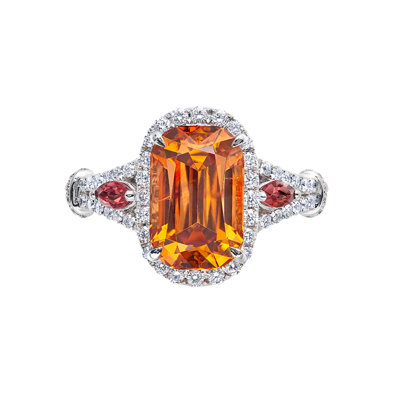 GSA 錳鋁榴石鑽石戒 4.65克拉
