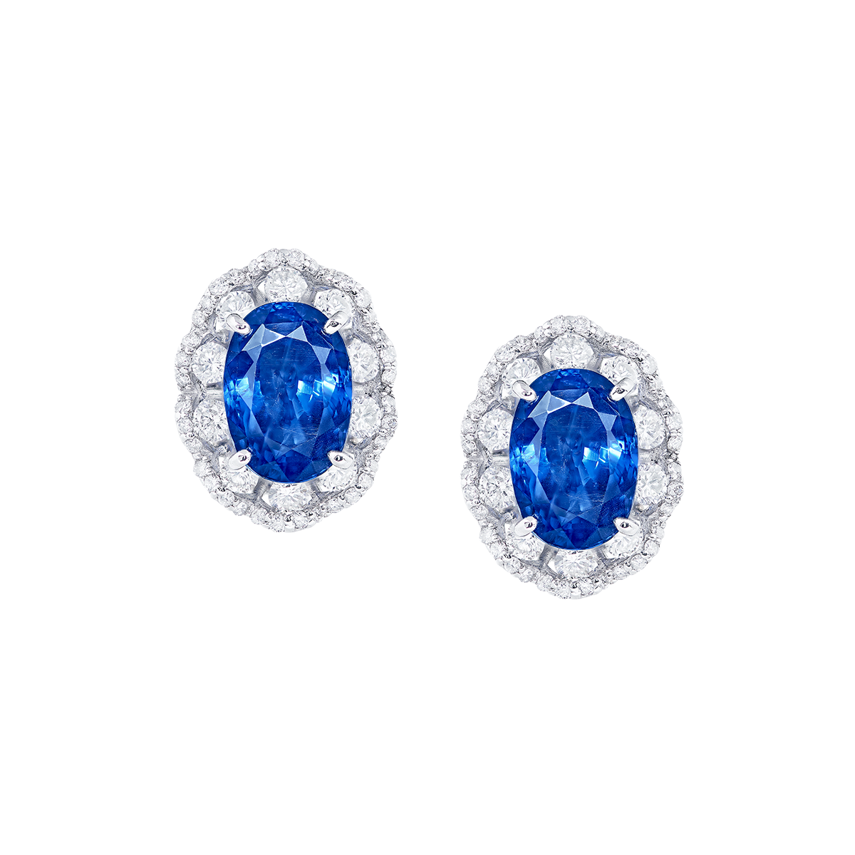 7.32克拉 斯里蘭卡 無燒皇家藍寶石耳環