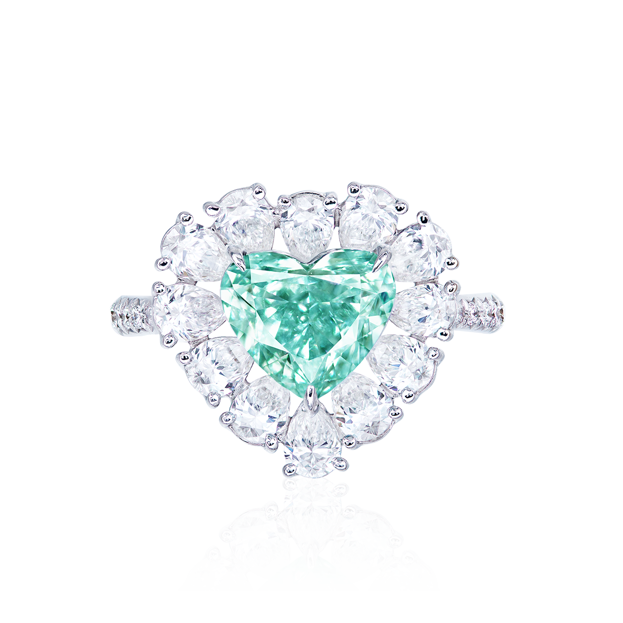 GIA 2.16克拉 濃彩藍綠鑽鑽戒