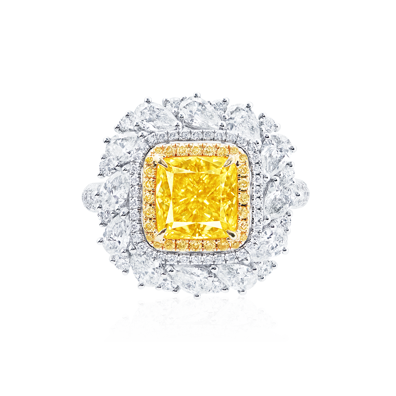 GIA 3.03 克拉 艷彩黃鑽鑽戒