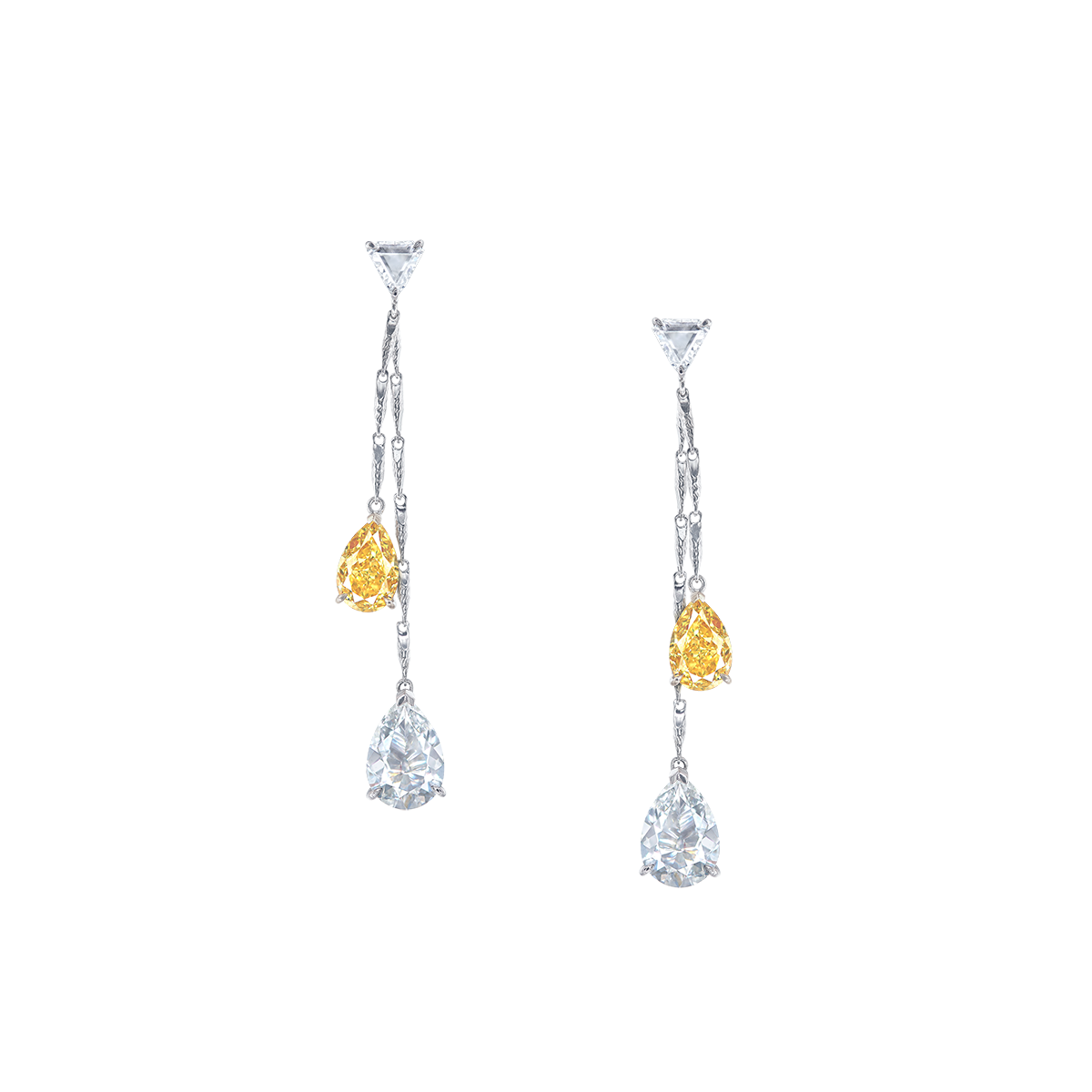 GIA深彩黃彩鑽鑽石耳環