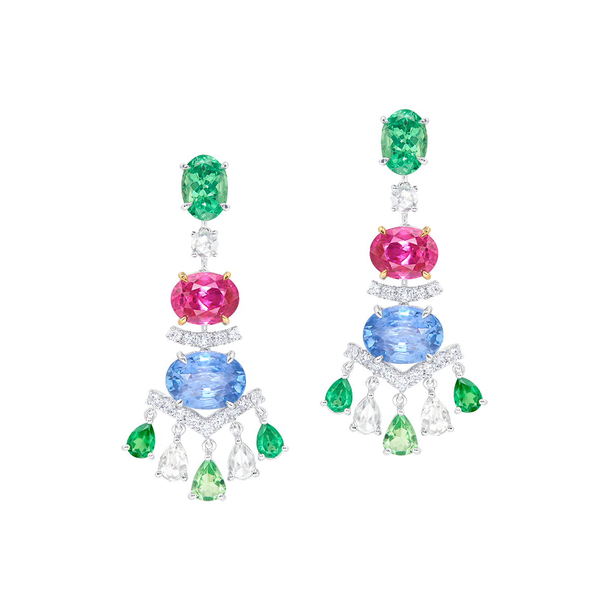 紅寶與藍寶鑽石吊燈耳環