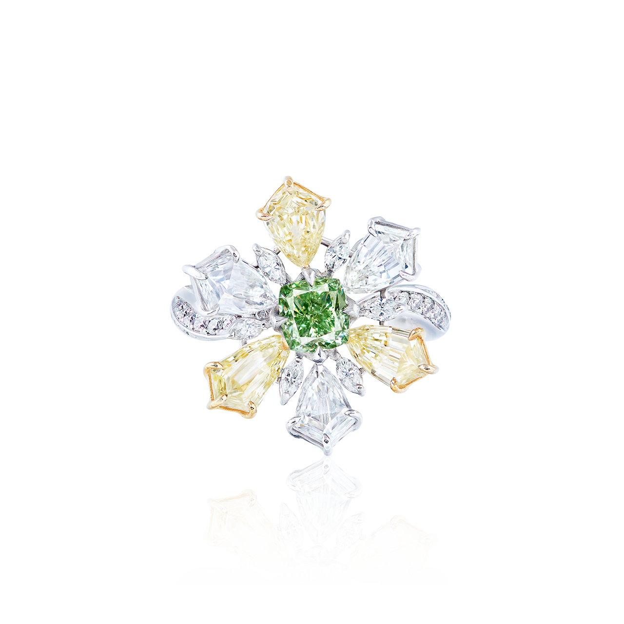 GIA 0.89 克拉 濃彩黃綠鑽鑽戒